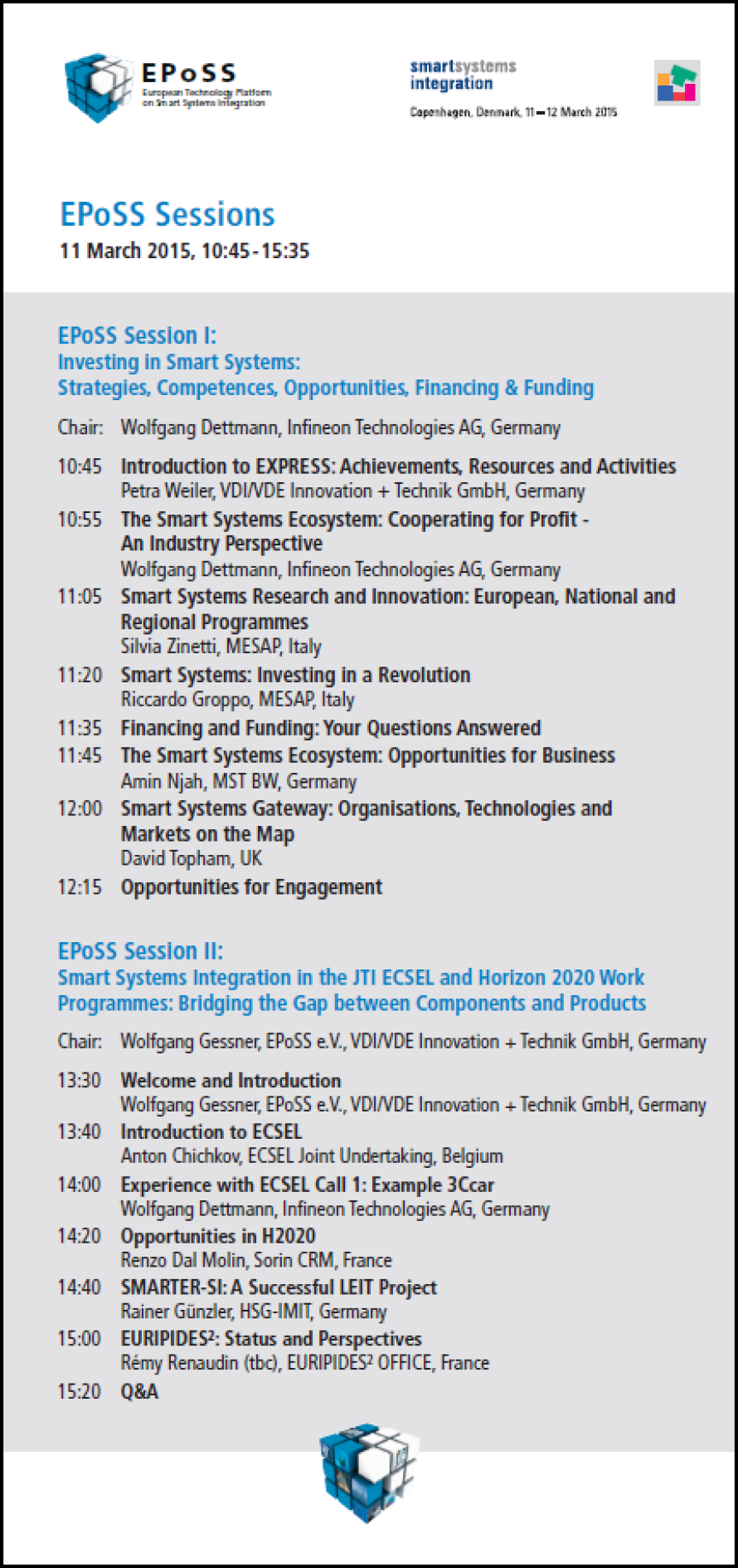 EPoSS Sessions Programme SSI 2015