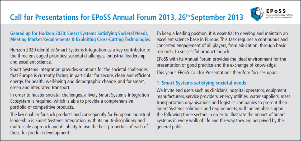 """Call for Presentations for EPoSS Annual Forum 2013 """"Geared up for"""