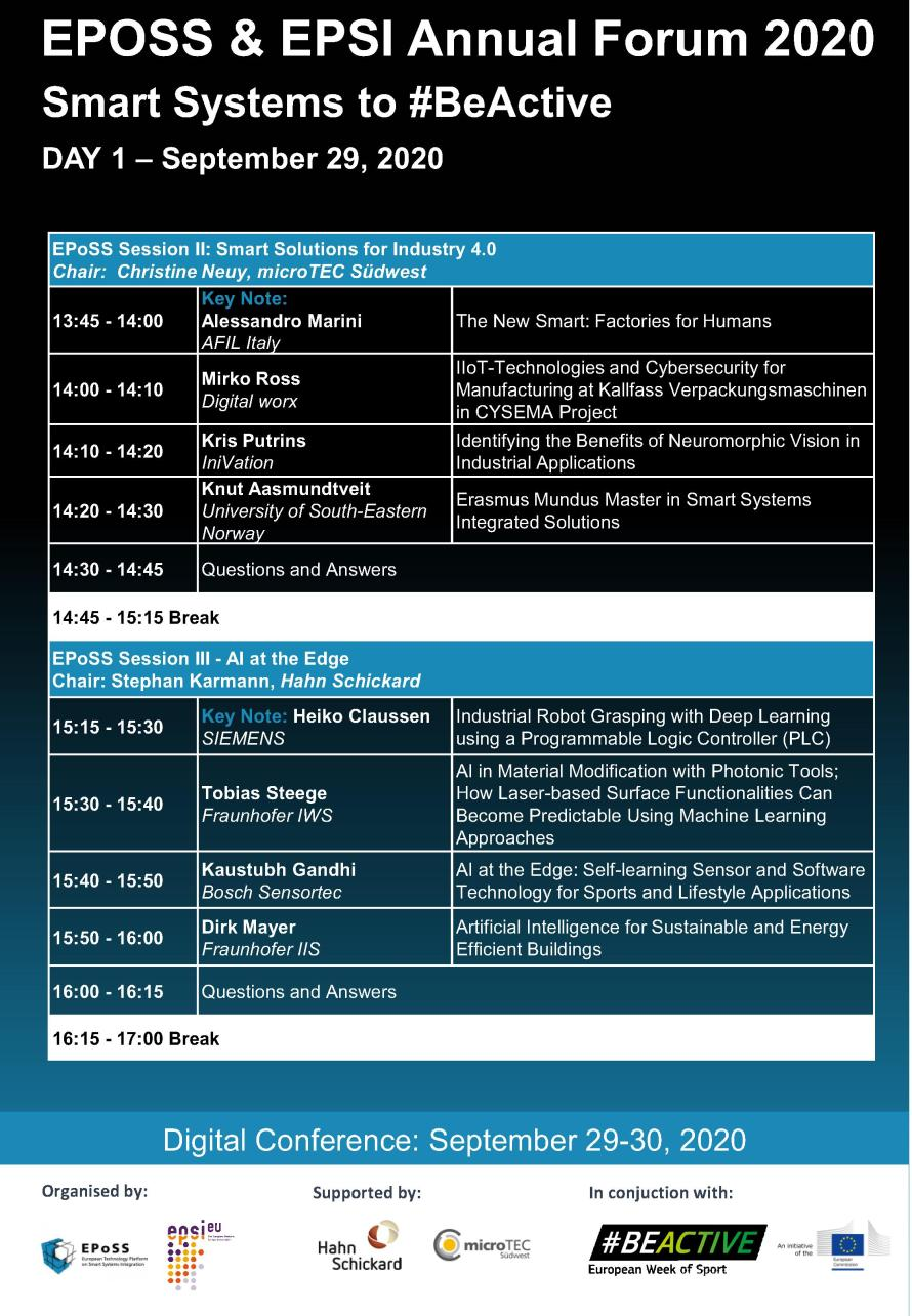 EPoSS and EPSI Annual Forum 2020: Programme 2/5