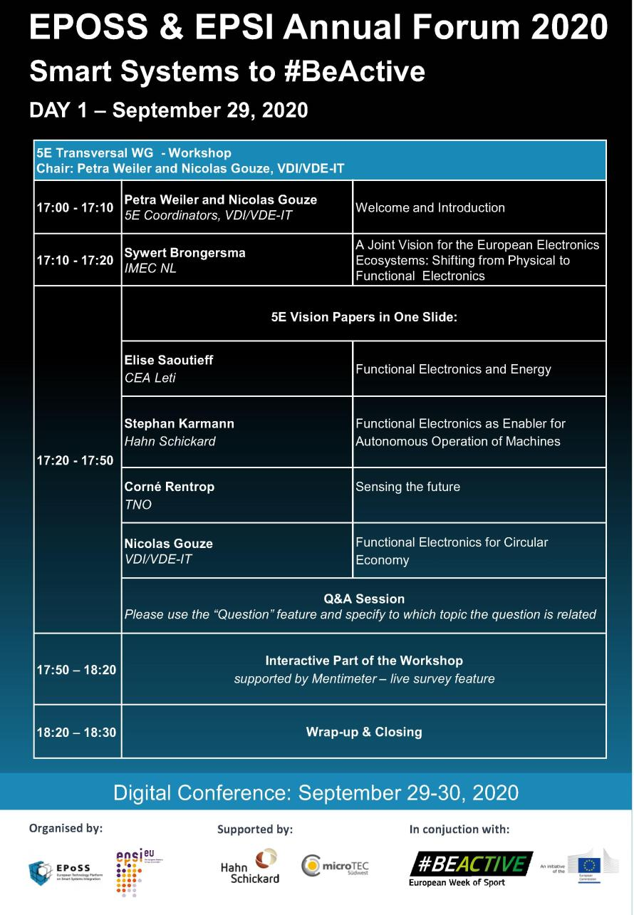 EPoSS and EPSI Annual Forum 2020: Programme 3/5