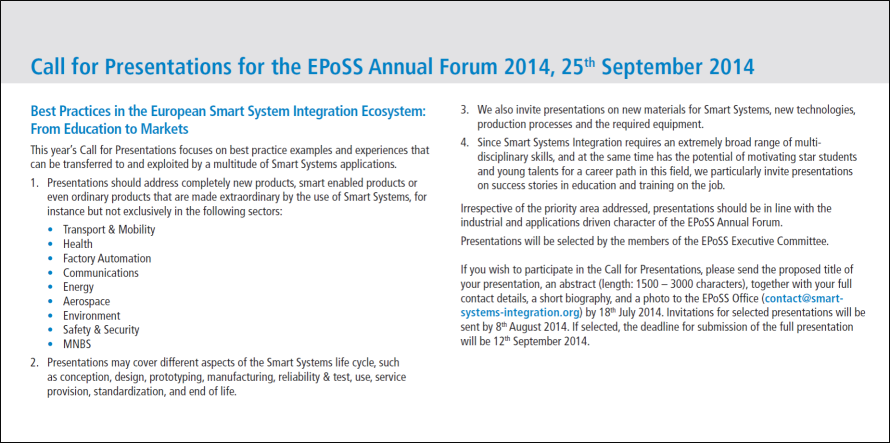 EPoSS Annual Forum 2014_Call for Presentations.PNG