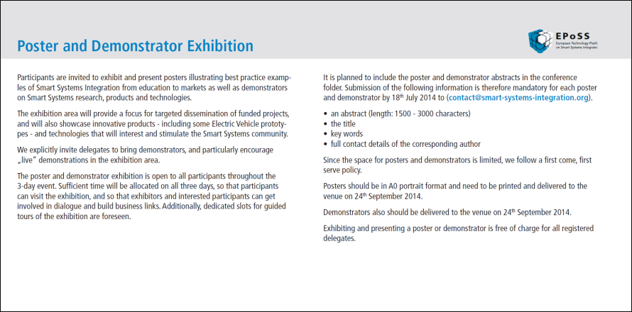 EPoSS Annual Forum 2014_Poster and Demonstrator Exhibition.PNG