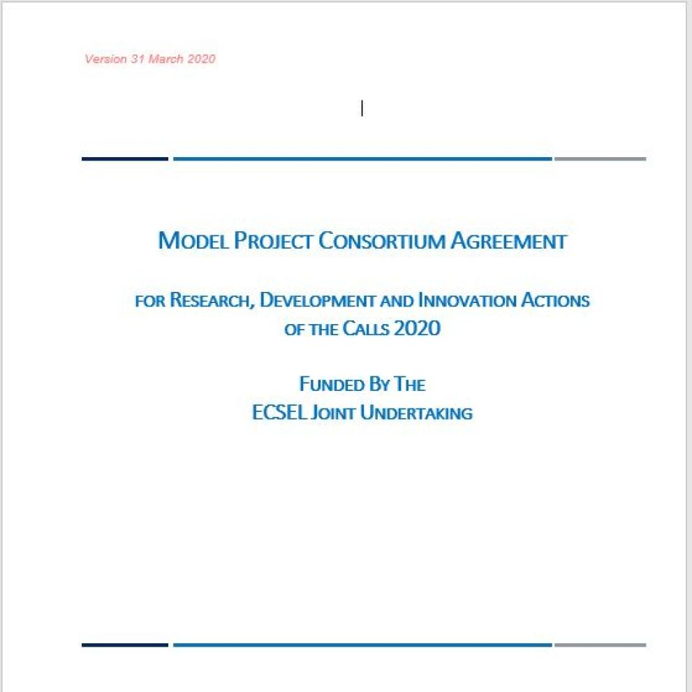 Model Project Consortium Agreement ECSEL 2020